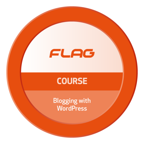 Badge FLAG Curso Blogging com WordPress