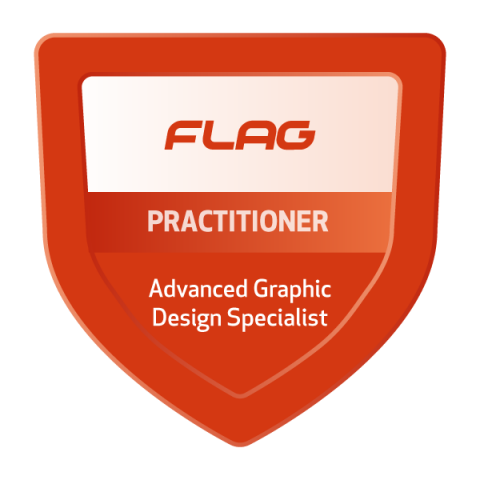 Badge FLAG Curso Especializado Design Gráfico Avançado