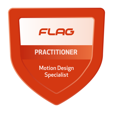 Badge FLAG Curso Especializado Motion Design