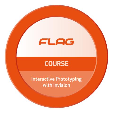Badge FLAG Curso Prototipagem com Invision