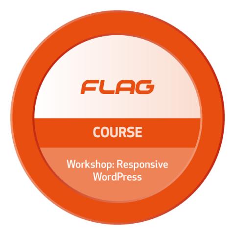 Badge FLAG Curso Workshop Responsive WordPress